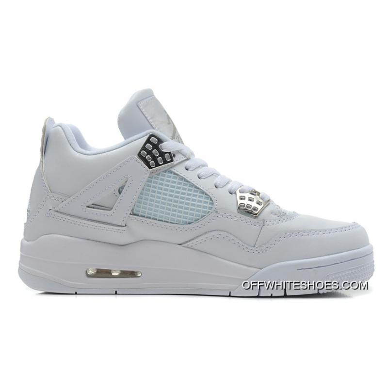"New Release Air Jordan 4 Retro ""Silver 25th Anniversary"" White/Metallic  Silver ..."