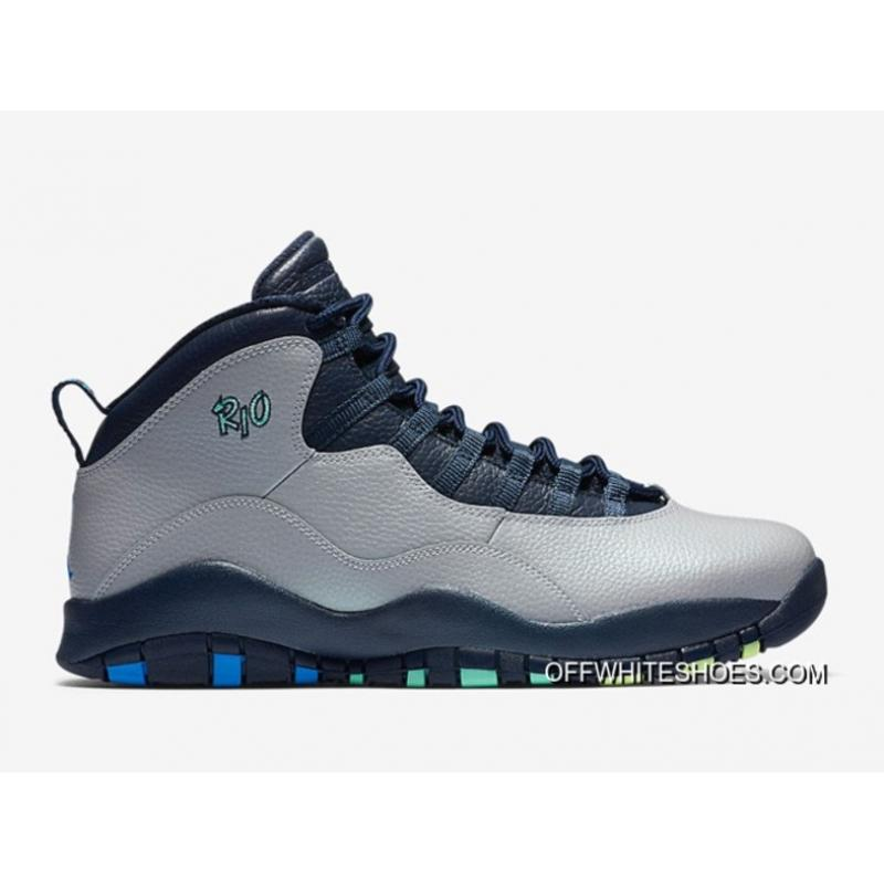 "bd602404b818c7 Air Jordan 10 ""Rio"" Wolf Grey Photo Blue-Obsidian-Green Glow Top ..."