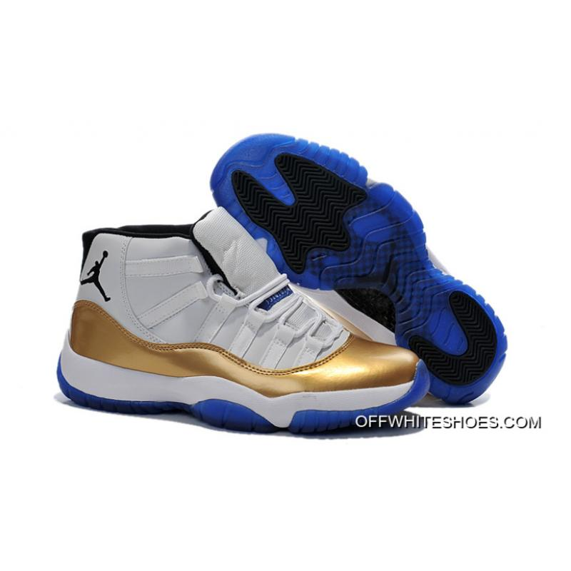 2fc65f8ba3bf37 New Air Jordan 11 Custom White-Gold True Blue Latest ...
