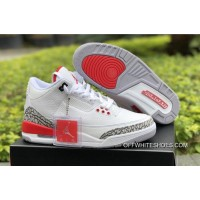 "4408e150564 Air Jordan 3 ""Katrina"" White Cement Grey Black-Fire Red Discount"
