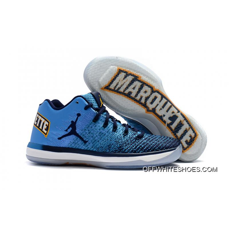 "New Release Air Jordan XXXI Low ""Marquette"" University  Blue Amarillo-Midnight Navy ... 03470d6df"
