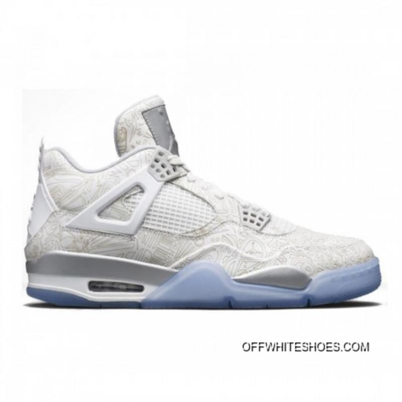 Authentic Air Jordan 4 Laser White Chrome-Metallic Silver