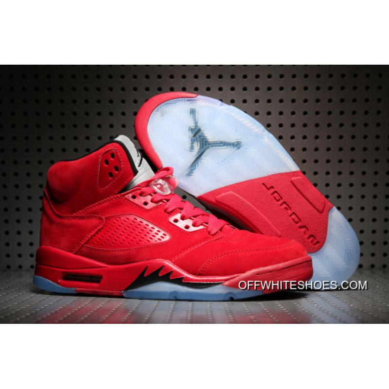 b68b7e057aaa8a Off-White Authentic Air Jordan 5   Red Suede   University Red  ...