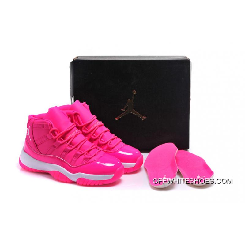 """1c0fe56634744 Off-White For Sale Air Jordan 11 GS """"Pink Everything"""" Pink White Shoes ..."""