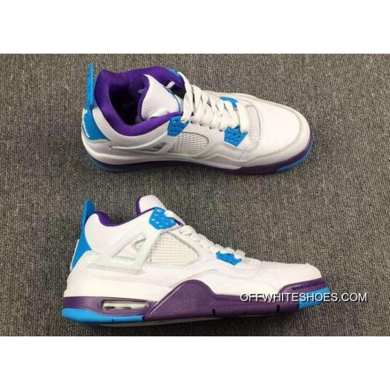 "quality design 398e0 0fd15 New Year Deals Air Jordan 4 ""Hornets"" White Blue Purple"