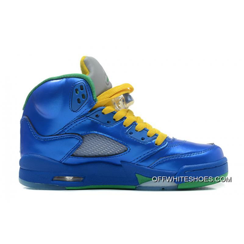 "cheap for discount 548be 03cac Authentic Air Jordan 5 Retro ""Easter"" Metallic Blue-Yellow Pine Green ..."