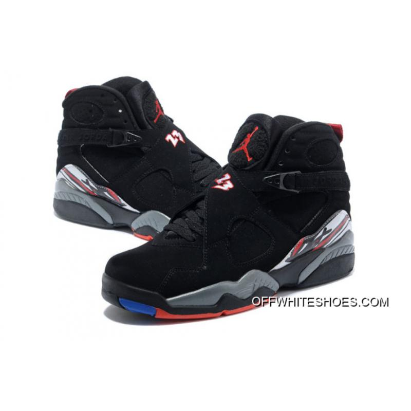 "7aa62619e2d0 ... Air Jordan 8 ""Playoffs"" Black True Red-White New Style ..."