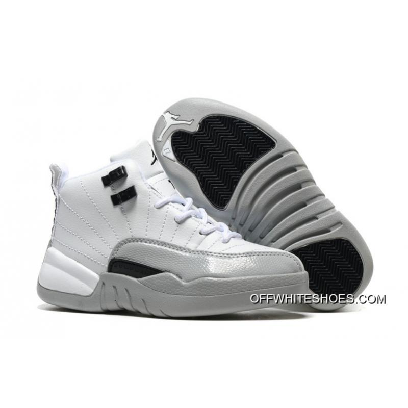 "promo code 0f1d9 cd40b Top Deals Kids Air Jordan 12 ""Barons"" White Black-Wolf Grey ..."