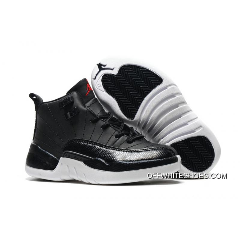 "7e4e5c744c6 Off-White New Release Kids Air Jordan 12 ""Black Nylon"" Black/White ..."