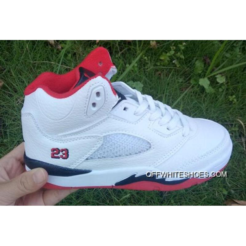 "690c2cf64c60 Kids Air Jordan 5 ""Fire Red"" Off-White New Style ..."