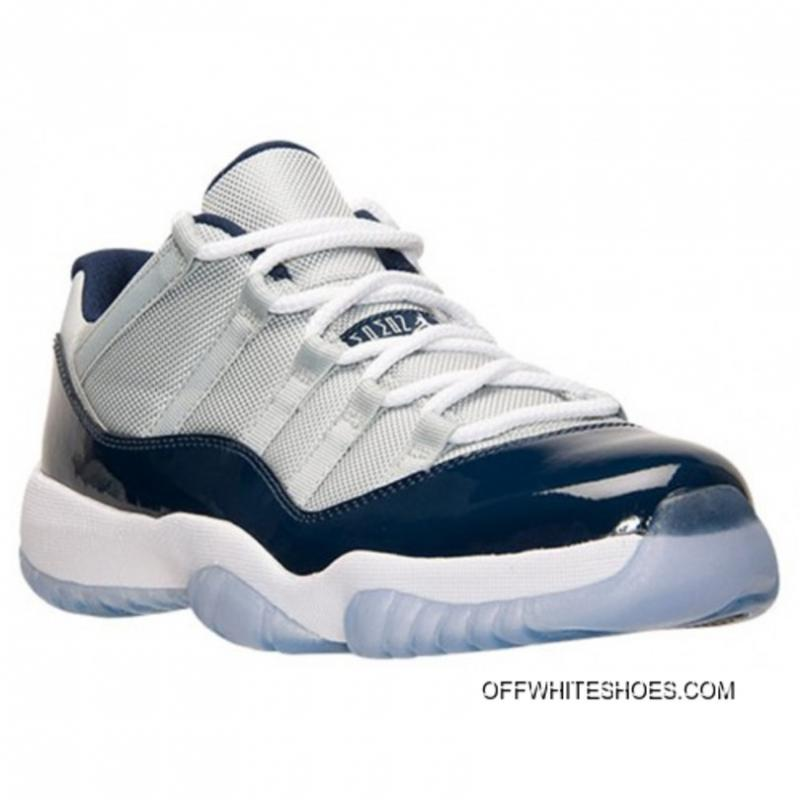best sneakers a9576 5d42d ... Authentic 528895-007 Air Jordan 11 Retro Low Grey Mist White-Midnight  Navy