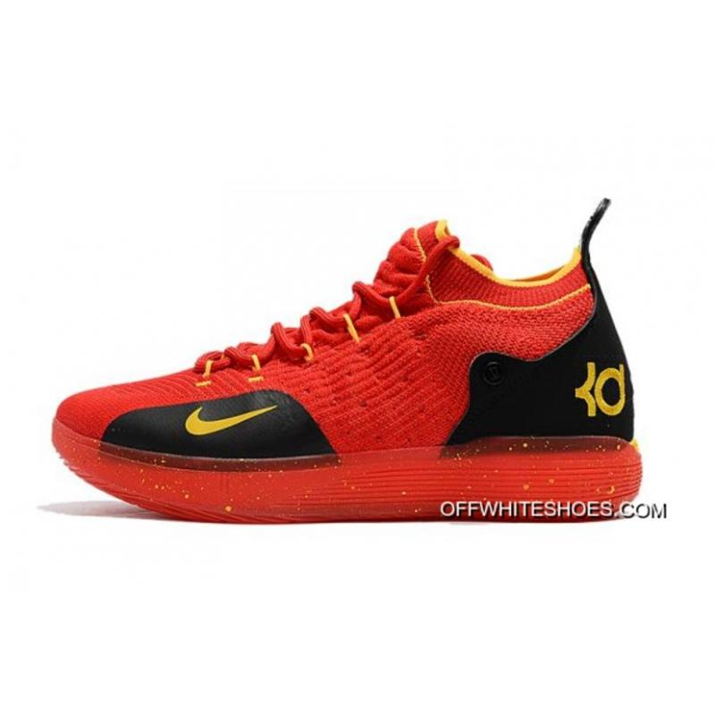 54852ba7c031 Men s Nike KD 11 University Red Black-Yellow Basketball Shoes Big Deals ...