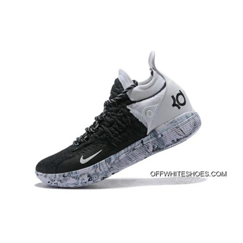 "1fb78de18b41 Nike KD 11 ""BHM"" Black White-White Marble Basketball Shoes Free Shipping ..."