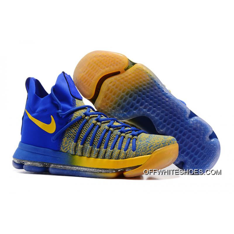"89157637f67 Outlet Nike Zoom KD 9 Elite ""Warriors Away"" Blue Yellow ..."
