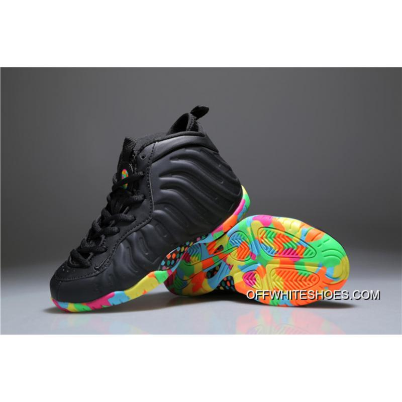 """8ae54ab60fb5a ... New Release Kids Nike Air Foamposite One """"Fruity Pebbles"""" Black  Multi-Colored ..."""