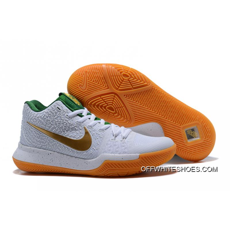 2c9b5646d87 Nike Kyrie 3 White Metallic Gold-Green Discount ...