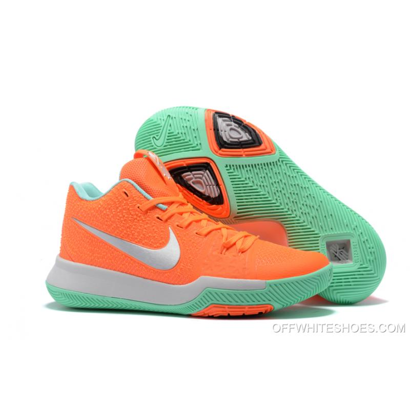 the latest 45f0f 49ff2 Nike Kyrie 3 Orange Green Silver Basketball Shoes Discount ...