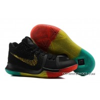 "Nike Kyrie 3 ""Rainbow"" Black Gold Pink Grass Green Colorful Hand Made"