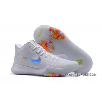 "Latest Nike Kyrie 3 ""Iridescent Swoosh"" Pure Platinum/Multicolor-Volt"