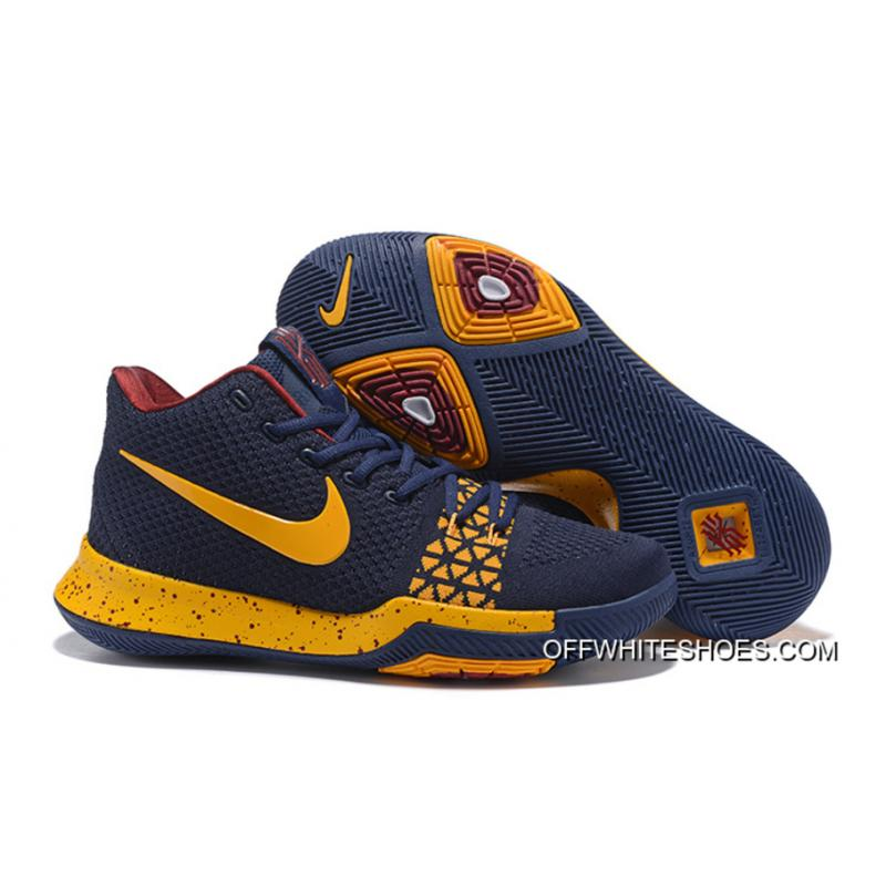 New Style Nike Kyrie 3 Navy Blue/Yellow, Price: OFF WHITE