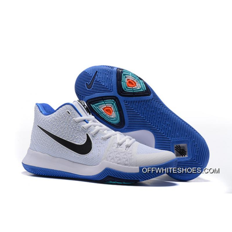 "competitive price db11d bd677 Discount Nike Kyrie 3 ""Duke"" White Blue Black, Price: $87.84 - OFF ..."
