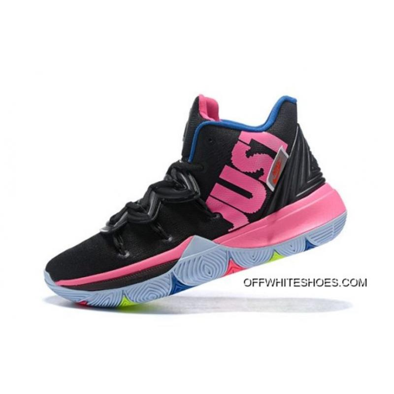 "Women Men Best Nike Kyrie 5 ""Just Do It"" Black Pink-Blue 9923926d7"