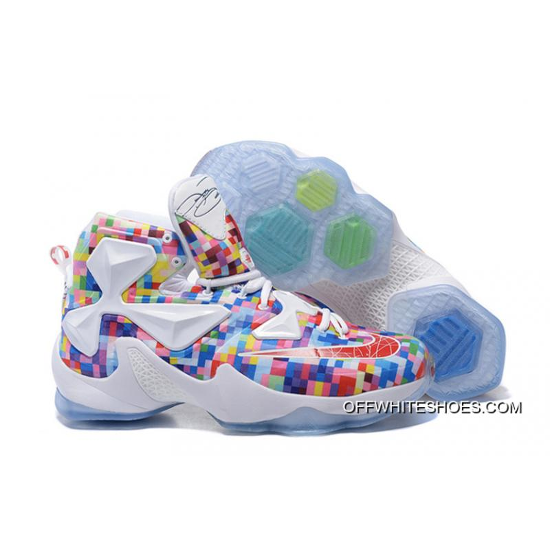 "37c19e14096a2 Nike LeBron 13 ""Prism"" Multi-Color University Red-White Basketball Shoes ..."