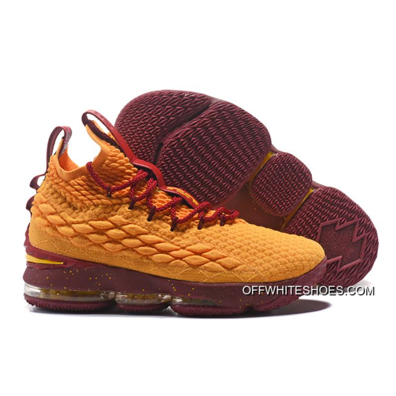 Free Shipping Nike LeBron 15 Yellow Burgundy Gold ... 4d74d56ea2