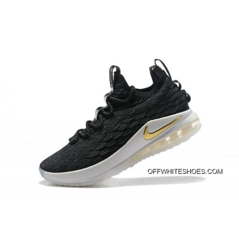 a856756442a8 Nike LeBron 15 Low Black Metallic Gold-Phantom Men s Basketball Shoes Outlet  ...