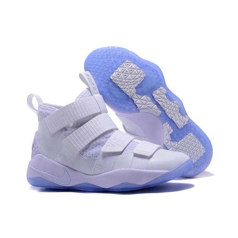 "Latest Nike LeBron Soldier 11 ""White Ice"" White Black-Pure Platinum ... bd2e08309"