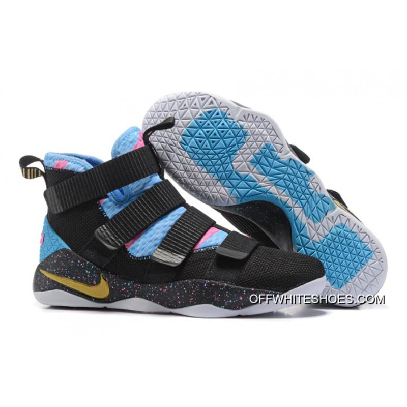 new styles e4ab1 919a3 Copuon Nike LeBron Soldier 11 Black Sky Blue Multi-Color ...