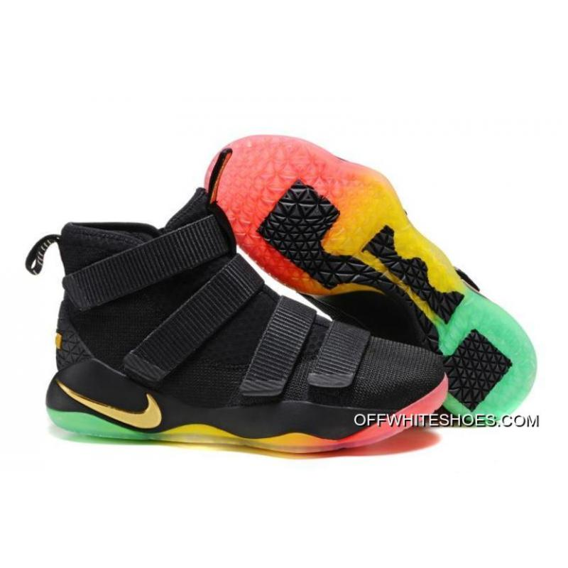Outlet Nike LeBron Soldier 11 Black Gold Rainbow ... 09794b5c3