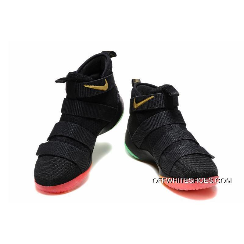 timeless design 1465c dc361 Outlet Nike LeBron Soldier 11 Black Gold Rainbow