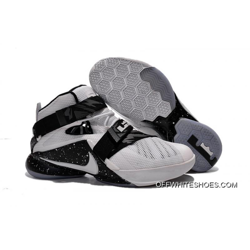 brand new 139d5 d01cd Nike LeBron Soldier 9 White Black Basketball Shoe Cheap To Buy
