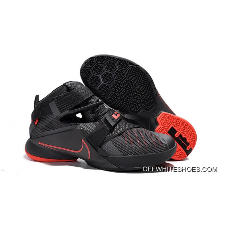 3be0f8e1e7b4f Discount Nike LeBron Soldier 9 Black And Red Highlights Basketball Shoe ...