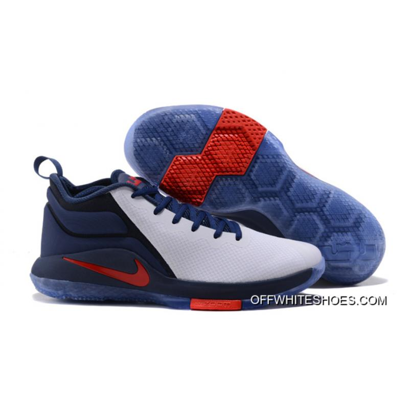 "136515bfec993 Nike LeBron Zoom Witness 2 ""USA"" Midnight Navy White-University Red  Basketball ..."