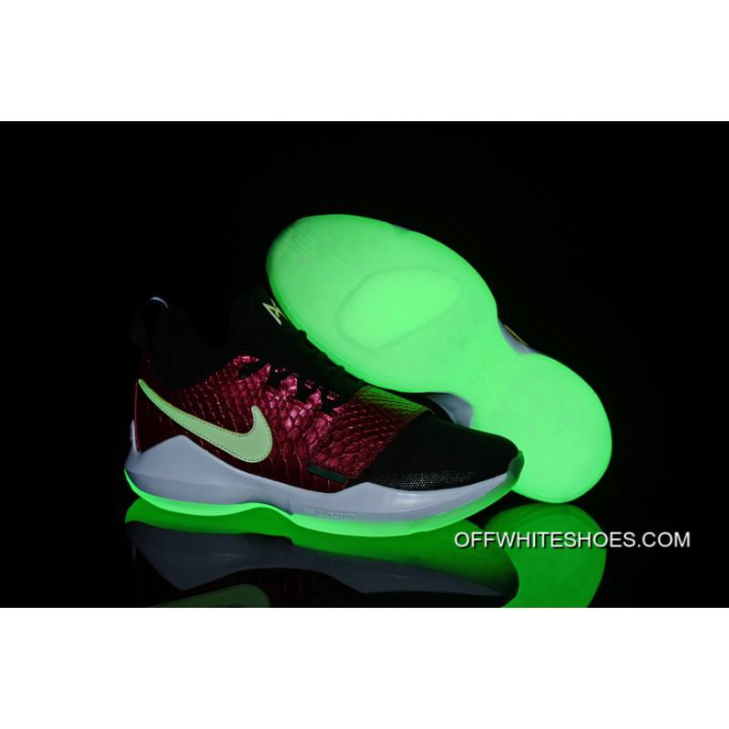 bab0a6c6c7a Nike Zoom PG 1 Black Wine Red Fish Scales Glow-in-the-dark Soles Top ...