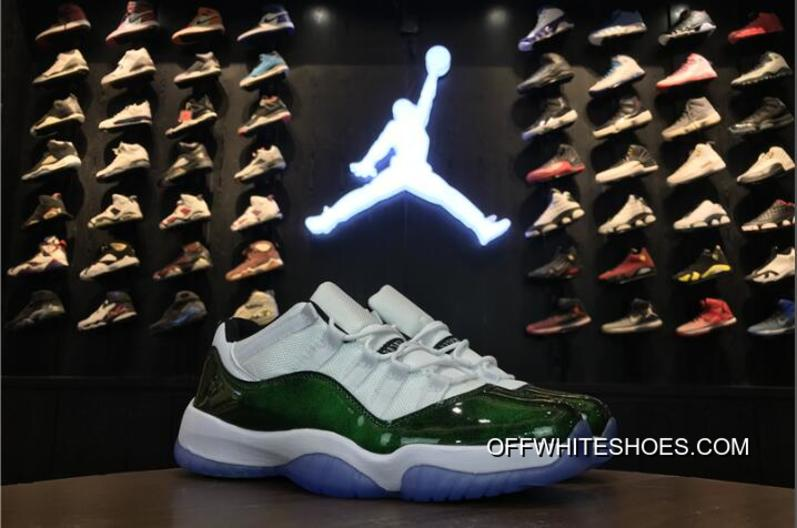 "online retailer 91ec6 cf366 Air Jordan 11 Low ""Easter"" White/Emerald Rise-Black Online, Price ..."