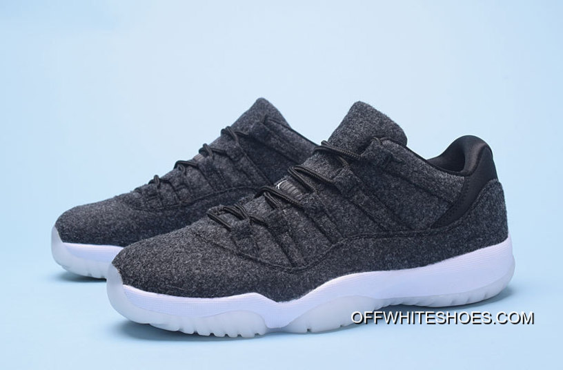 "f64971f625ed8e Air Jordan 11 Low ""Wool"" Dark Grey Metallic Silver-Black New Style ..."