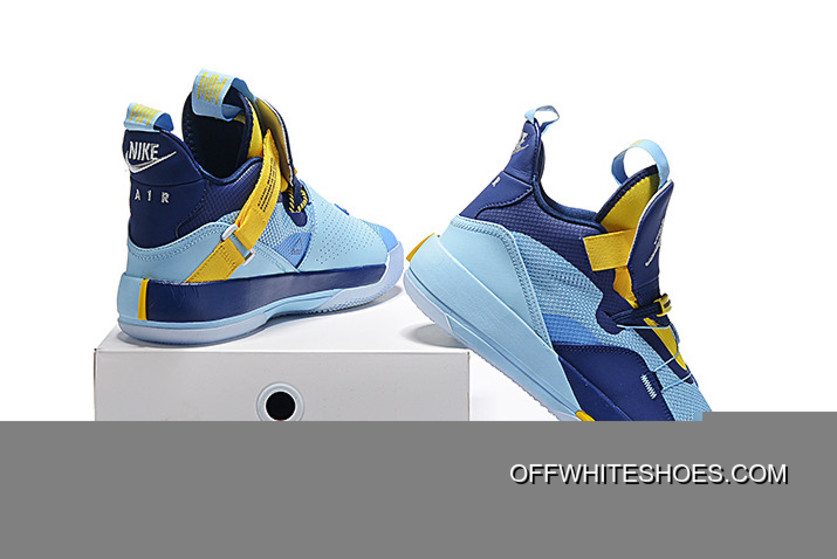 online store ab6c3 6c2be Free Shipping Air Jordan 33 XXXIII Mint Green Navy Blue-Yellow