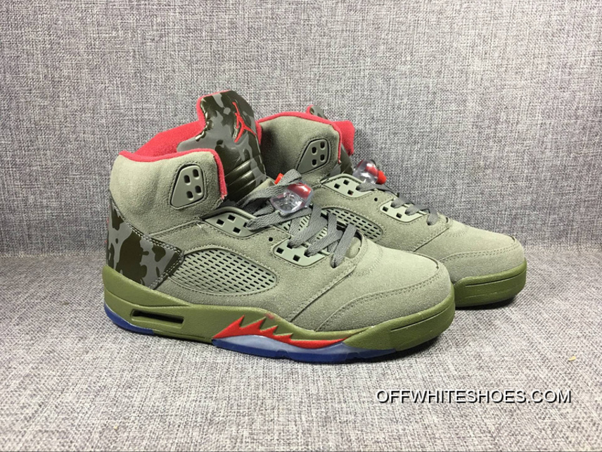 """the best attitude 5d965 8a524 Off-White New Release Brand Air Jordan 5 """"Camo"""" Olive-Grey/Fire Red Sale"""