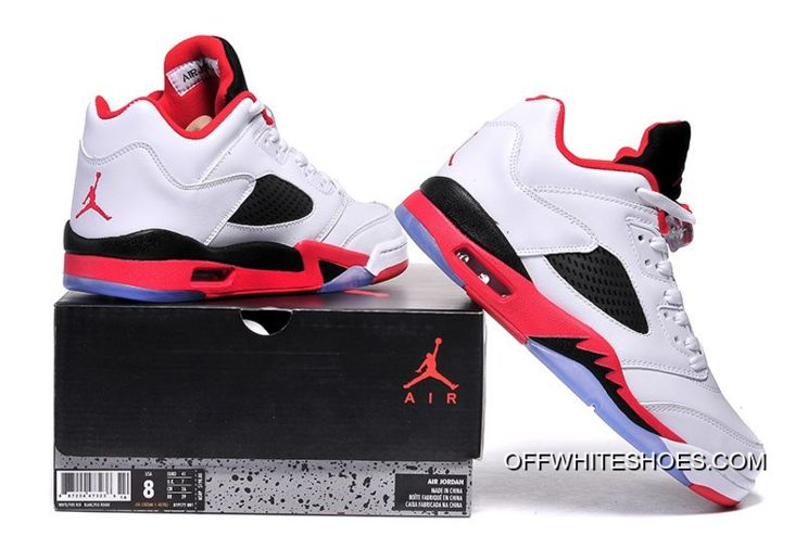 """Latest Air Jordan 5 Low """"Fire Red"""" White Fire Red-Black 137e6eb41205"""