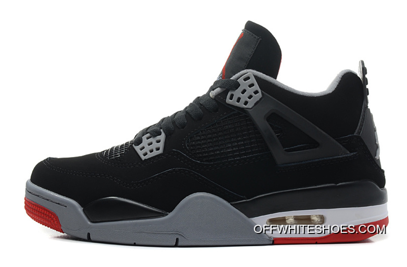 """huge selection of 99995 a0a93 Air Jordan 4 """"Bred"""" Black Cement Grey-Fire Red Off-White"""