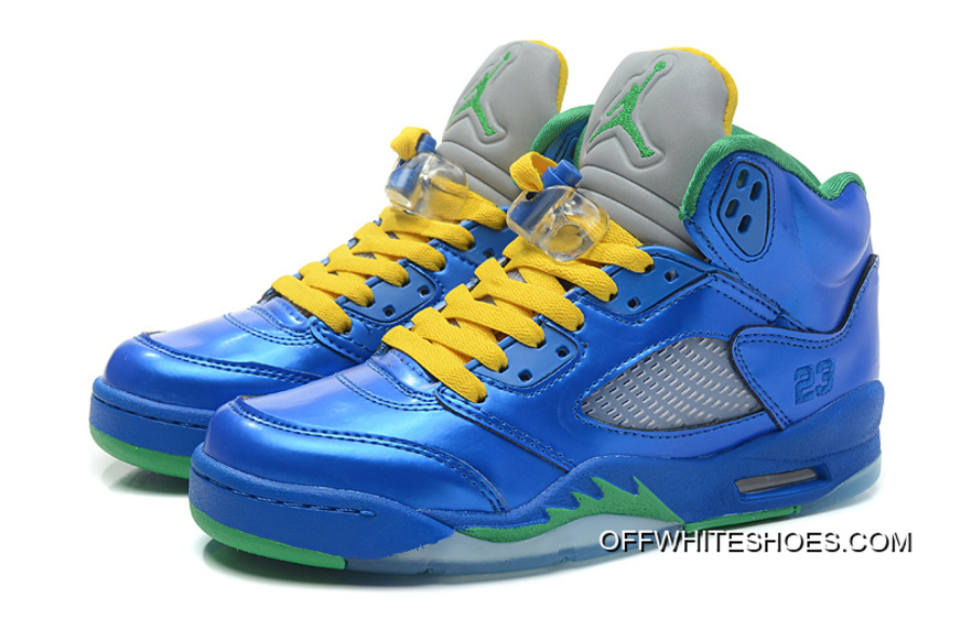 "f85236daeb3 Authentic Air Jordan 5 Retro ""Easter"" Metallic Blue-Yellow/Pine Green"