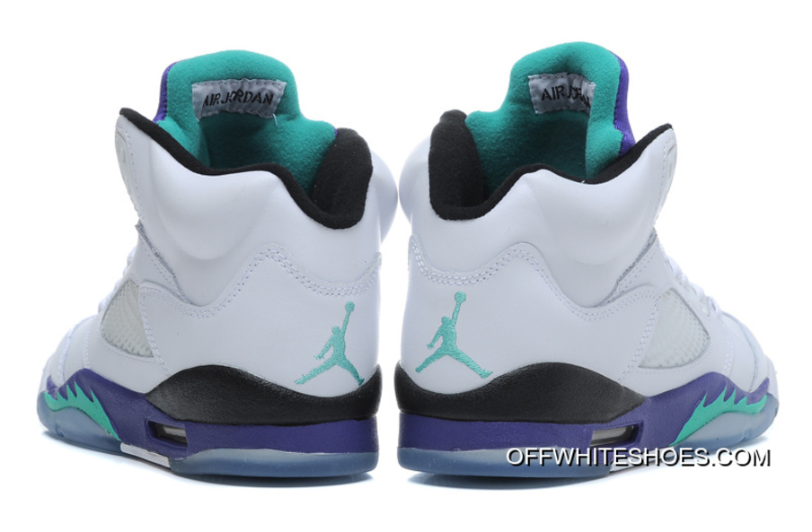 16a5d03cadc New Air Jordan 5 Retro White/New Emerald-Grape-Ice Blue New Release ...