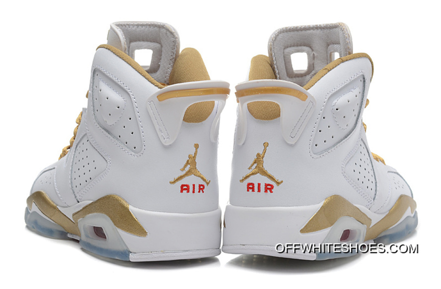 "brand new 34aa2 d1d2e New Release New Air Jordan 6 Retro ""Gold Medal"" White Gym Red-"