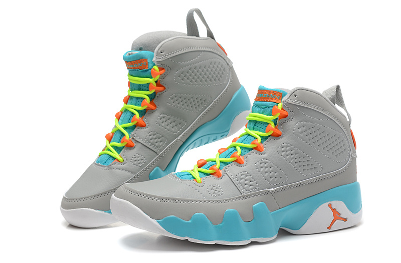 1ee6ca743bb Free Shipping New Air Jordan 9 GS Wolf Grey/Neon Orange-Mint Candy ...