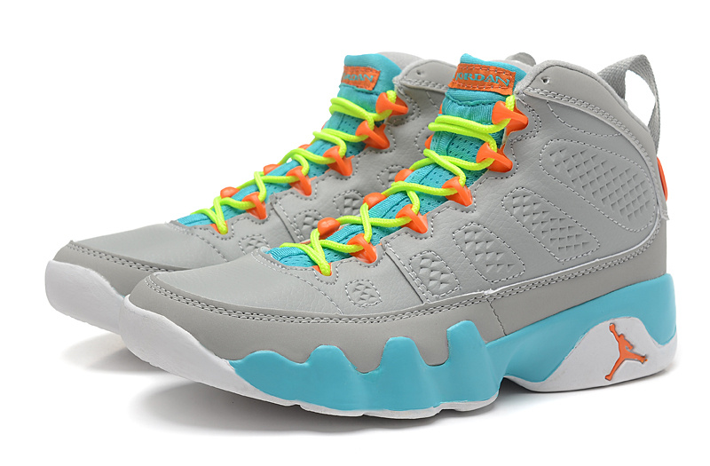 the latest 1927b df8b9 Free Shipping New Air Jordan 9 GS Wolf Grey Neon Orange-Mint Candy