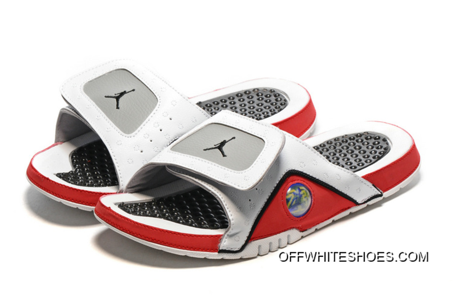 new concept 8e1f4 4b554 Off-White Copuon Code Jordan Hydro 13 Slide Sandals White Black True Red