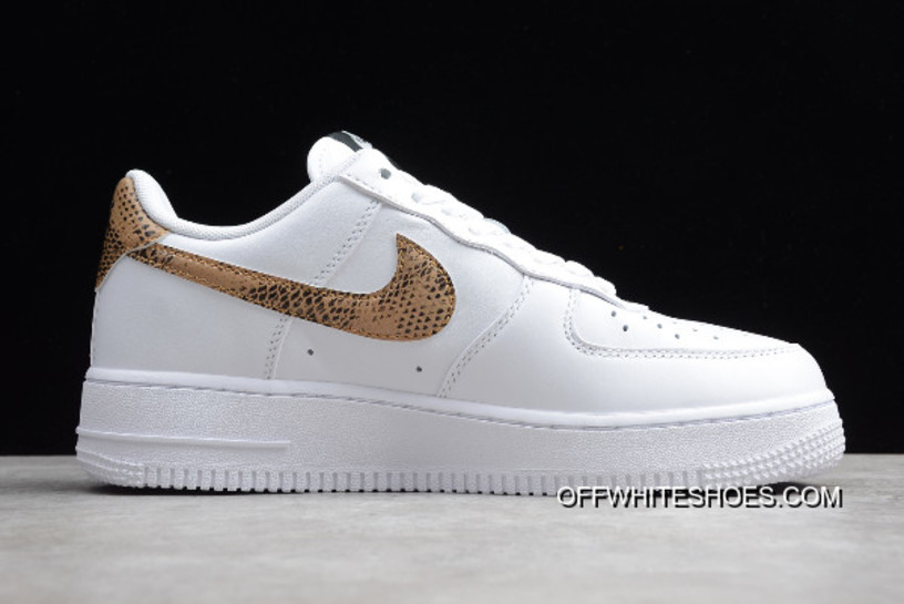 """preview of exclusive deals in stock Women/Men Nike Air Force 1 Low Retro Premium QS """"Ivory Snake""""  White/Elemental Gold/Dark Hazel/Black AO1635-100 Outlet"""